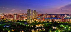 Bishan and Bishan Park II (Rebecca Ang) Tags: park lighting city longexposure light urban architecture buildings lights twilight singapore cityscape dusk flats bluehour hdb bishan thebluehour urbanarchitecture bishanpark delayedexposure duskphotography rebeccaang