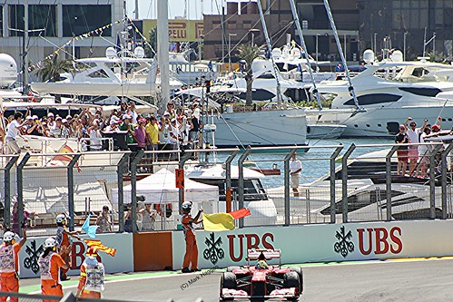 Felipe Massa in his Ferrari after the 2012 European Grand Prix in Valencia