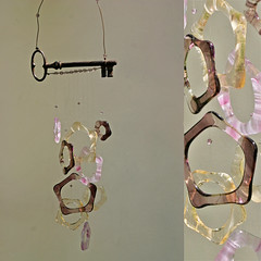 Fused Glass and Antique French Skeleton Key Suncatcher Windchime (pamela.angus) Tags: pink glass key wind angus handmade antique ooak mauve pamela windchime chime fused pamelaangus