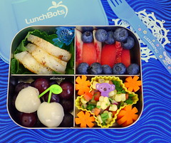 Deconstructed Fish Tacos Bento (sherimiya ) Tags: school fish tomato lunch kid healthy corn sheri tacos peach quad delicious homemade meal grapes carrot bento onion salsa cod cilantro blueberries lychee obento wholesomelunchbox sherimiya lunchbot