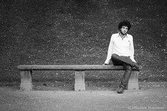 Malko (Joss Bomal) Tags: portrait blackandwhite white black male bench beard photography model solitude curly modelling malko