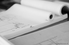 Architectural Plans (m. j. kelley) Tags: bw white black glass digital work table photography 50mm marketing office pentax bokeh squares library clips drawings architectural conference plans smc gem desks k5 resources 114 environments pentaxm mjkelley mjkelleycom