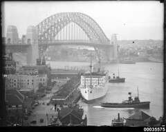 RMS STRATHNAVER alongside the wharf in west Circular Quay