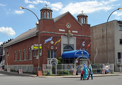 Muslim mother and children walking in front of Greek Orthodox church, Parc Extension, Montreal (Blake Gumprecht) Tags: church children quebec montreal muslim islam mother neighborhood multicultural greekorthodox multiculturalism ethnicdiversity parkextension