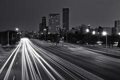 lsd in b&w (cb804) Tags: light lake chicago cars skyline drive moving long exposure traffic trails lsd shore