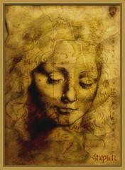 ~Female head by Leonardo Da Vinci ~ (stephgum32807) Tags: texture ourtime leonardodavinci oldworldmap lenabemanna creativephotocafe