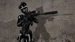 Dealing with disorderly subs (alexandriabrangwin) Tags: shadow woman wall fetish computer concrete 3d outfit graphics shiny boots scope rifle vinyl rubber gloves cap secondlife german pistol whip latex corset gasmask aim total officer m4 catsuit pockets pvc cgi dominatrix enclosure poc silencer etchaflesh alexandriabrangwin
