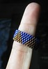 Triangle ring (Librarianguish) Tags: blue beads finger copper 414 cobalt delicas peyotestitch beadlandia