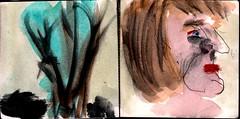 er war hinaus gegangen in die Natur, Gott nah zu sein. Um diese Jahreszeit htte er Insektenspray mitnehmen sollen. So viel stand jetzt schon fest (raumoberbayern) Tags: city winter bus fall pencil paper munich mnchen landscape herbst tram sketchbook stadt papier landschaft bleistift robbbilder skizzenbuch strasenbahn