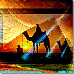 SUN & CRESCENT (jawadn_99) Tags: blue shadow red sky sun men green art colors yellow photography desert geometry stage performance creative vivid surreal crescent explore camels multicolors pinc interrestingness