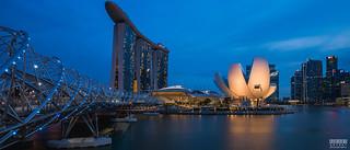 The Helix Bridge and Marina Bay Sands
