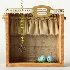 Wee Bird Shadow Box (humbleBea) Tags: family art love birds cozy moss natural handmade mixedmedia oneofakind rustic shadowbox sculptures diorama bluebirds homey emptynest humblebea beaswees