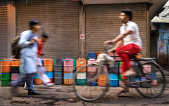 Close Encounters (Ashmalikphotography) Tags: colors earlymorning streetphotography schoollife slowshutterspeed olddelhi waterjugs narrowlanes bylanes earlymorningrush delhilife