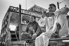Stop over (Bernard_Menett) Tags: street bw creek dubai uae dhow