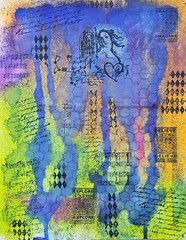 Dare! (Karen Cattoire) Tags: blue art colorful acrylic couleurs bleu creation imagination stamping vinci inks artjournal abstrait inkspray karencattoire