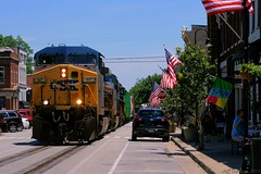 LaGrange, KY Street Running (Jeff Carlson_82) Tags: street railroad usa st train downtown kentucky ky flag main railway ge railfan 97 csx lagrange shortline csxt ac44cw streetrunning ac4400cw lclsub