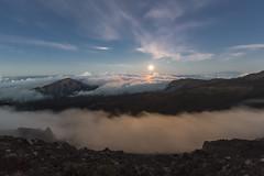 Summer Solstice and a Full Moon (hawaiiansupaman) Tags: sunset moon clouds hawaii maui fullmoon haleakala moonrise eveningsky summersolstice haleakalanationalpark