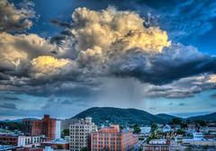 Sunset Shower Mill Mountain Roanoke Star (Terry Aldhizer) Tags: city blue light sunset sky mountain mountains mill rain clouds buildings star ridge roanoke terry showers aldhizer wwwterryaldhizercom