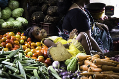 1510 India-1070015 (esther.park) Tags: centralmarket coubertmarket india pondicherry girlrestingonvegetables vegetablestand33