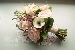 vintage style pink bridal bouquet (bloomsdayflowers) Tags: pink flowers ireland wedding rose vintage garden spring cork stock ivory style veronica anemone bouquet bridal genista bloomsday astrantia carrigtwohill
