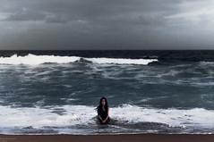 (danielle kiemel) Tags: ocean sea summer portrait people selfportrait beach me girl female dark landscape outdoors freedom evening nikon solitude waves alone photographer young longhair australia nsw newsouthwales bluehour brunette february centralcoast 50mmf14 2012 wamberal daniellekiemel wamberalbeach nikond5000