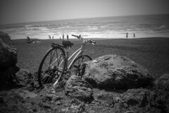 Pacifica (O Caritas) Tags: ocean california bw 120 film beach bike bicycle canon mediumformat iso100 rocks scan pacificocean april pacifica 2012 expiredfilm fujineopanss canoscan8600f 6cmx9cm kodaksix20targethawkeye expiredjuly1997 2012bypatricktpowerallrightsreserved vuescan9051 ratedatiso50 21april2012