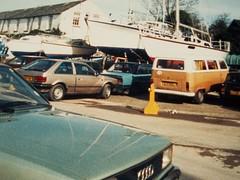 A scene from the Mid 1980's (occama) Tags: old cars vw boats photo cornwall mazda audi 1980s camper boatyard estelle skoda cornish 323 mylor sjy55l