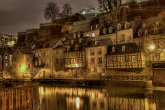 A golden shot? (Explored highest @3) (Christoph Pfeilstücker) Tags: color reflection water colors night canon river europe vivid luxembourg nuit letzebuerg luxembourgcity 5d2 xris74