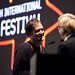 Will Anderson with Chris Fujiwara as he receives his two awards at the 2012 EIFF Awards ceremony at the Filmhouse