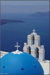 Imerovigli, Santorini. (Andrei Dragomir) Tags: blue sea summer church island holidays cross bell aegean santorini greece caldera dome christianity cyclades thira imerovigli thirasia kyklades