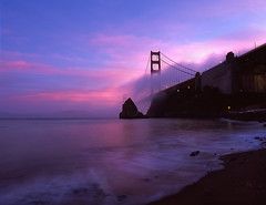 Golden Gate Sequence of Events (RZ68) Tags: bridge pink light sunset sea sky color reflection film beach fog clouds happy golden gate long exposure waves baker marin low foggy velvia headlands ft 6x7 75 provia 75th ggnra e100 rz68