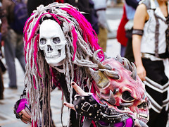 Harajuku Bridge Horror (tokyofashion) Tags: japan japanese skull tokyo mask cosplay harajuku horror dreads 2008 cybergoth hairfalls harajukubridge