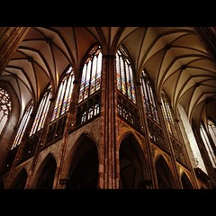Dom - Koln, Germany (seanjonesfoto) Tags: travel light summer color window architecture germany square europe cathedral dom cologne arches ceiling squareformat catholicism stainglass koln hefe 2012 iphone iphoneography instagramapp uploaded:by=instagram