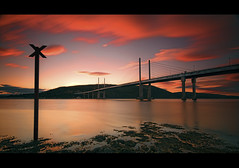 Kessock Bridge - 80 seconds of sunset (Michael~Ashley) Tags: bridge sunset sea clouds photography scotland highlands nikon long exposure scottish moray inverness firth kessock d3100