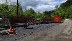 051112 Rail Trail Progress (1) (CityofMorgantown) Tags: west wall work virginia construction crane rail trail wv morgantown drill retaining pave caperton