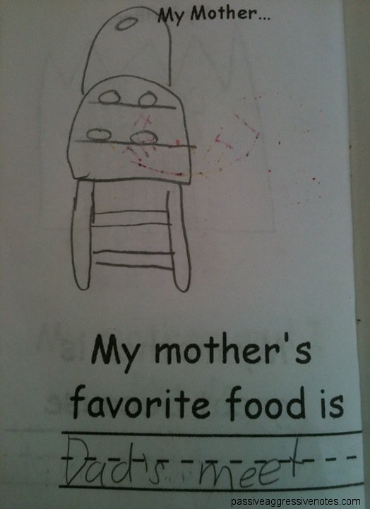 My mother's favorite food is Dad's meet [sic]