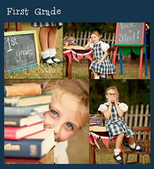 Annalise's  collage (sugarmagphoto) Tags: boy portrait girl kids vintage children eyes smiles conceptual backtoschool