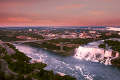 American Falls at Sunset (Thousand Word Images by Dustin Abbott) Tags: travel sunset vacation mist newyork ontario canada green beautiful niagarafalls twilight rocks whitewater aerialview naturallight lush fullframe lakeontario bridalveilfalls rainbowbridge horseshoefalls americanfalls skylontower goatisland deepcolor canonef24105mmf4lis hoyacircularpolarizer deepdepthoffield niagarabasin canoneos5dmkii thousandwordimages dustinabbott
