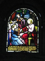 A Stained Glass Window in the St Peter the Mariner Chapel; the Mission to Seamen - Flinders Street, Melbourne (raaen99) Tags: blue red woman building green church window yellow architecture club hotel inn chair women memorial harbour interior lodging religion jesus sailors halo australia melbourne chapel courtyard victoria bible historical recreation nautical 1910s shelter 20thcentury stainedglasswindow biblical edwardian flindersstreet 40s 1917 servant 1900s flindersst anglicanchurch 1946 welfare 1916 moh leadlight seamen placeofworship spanishmission seafarer churchwindows satinedglass twentiethcentury melbournearchitecture anglicanchapel spanishmissionstyle leadlightglass edwardiana spanishmissionarchitecture inmemorandum karenbrady walterbutler missiontoseamen melbourneopenhouse hostlery architecturallydesigned openhouse2012 moh2012 melbourneopenhouse2012 missiontoseamenbuildings stpeterthemarinerchapel harbourlightsguild
