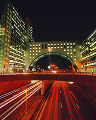 traffic passing by The Hague's modern architecture at night (ELPERIODICODELANZAROTE.COM1) Tags: road holland netherlands architecture modern night office highway traffic motorway dusk thenetherlands officebuilding denhaag illuminated thehague buidling zuidholland nationalenederlanden nld utrechtsebaan