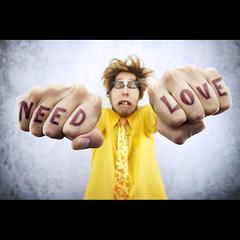 Need Love (Mr. Flibble) Tags: love nerd yellow tattoo idiot hands dof geek hate need forcedperspective knuckles flibble
