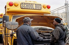 School Bus Terminal (Lau Kwan Tai, Eric) Tags: street leica nyc newyork storm brooklyn coneyisland photography sandy portra400 50mmf2summicron ericlaudesigncomblog