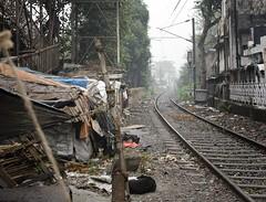 Rail Line Dwellings - D7K 5744 ep (Eric.Parker) Tags: railroad india river tracks railway shack kolkata bengal calcutta slum babu ganga 2012 ghat baboo hooghly