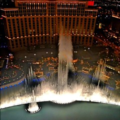 The Bellagio fountains at night...