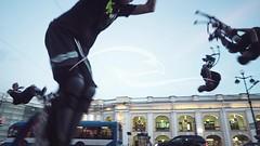 Men  Jump Over His Head On The City Street (alekseiptitsa) Tags: street city boy sky man guy car speed boot high jump jumping shoes power boots young run jumper split jolly stilts stilt powerstrip skyrunner poweriser powerizer powerskips powerstrider