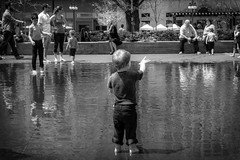 (127/366) Conductor in Search of an Orchestra (CarusoPhoto) Tags: park street city boy bw white chicago black water fountain project john person dc search day child pentax candid small millennium orchestra l crown hd re 365 caruso phot wr conductor ks2 366 1850mm f456 pentaxda carusophoto