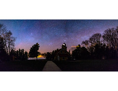 Eagle Bluff Lighthouse Pano (Rob T. Miller) Tags: nightphotography lighthouse night stars landscape nightscape nighttime astrophotography nightsky universe milkyway starrynightsky may2016meeting