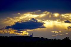 Sunset Clouds ((Jessica)) Tags: sunset boston closeup clouds massachusetts watertower newengland sunrays pw woburn hornpond