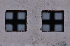 Two plus squared (Paul B. (Halifax)) Tags: canada reflections nikon novascotia squares lookingdown halifax stormdrain urbanabstract afsvrmicronikkor105mmf28gifed d7000 halifaxcentrallibrary
