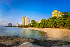 Coral Beach Naklua (JPDVision) Tags: trees sea beach water beautiful coral sand rocks salt hotels condos naklua
